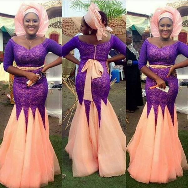 Modest Nigerian Evening Dresses Plus Size Mermaid Scoop Neck Off the Shoulder Half Sleeves Purple Lace Peach Color Sash Skirt Prom Gown