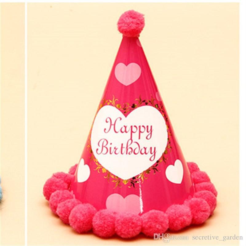Children Birthday Party Hat Multi Colors Baby Boys Girls Birthday