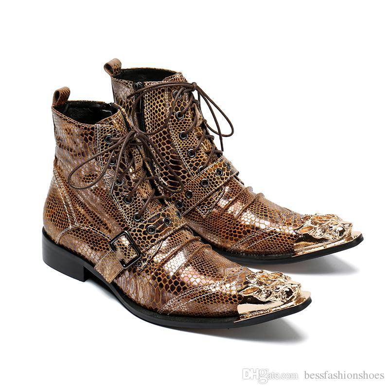 Heißer Verkauf Männer Aus Echtem Leder Motocrycle Stiefel 2017 Neue Modemarke Metall Schnalle Spitz Herren Hochzeit Kleid Schuhe High Top Runway Schuhe