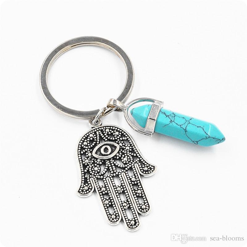 Wholesale 14 Styles Fashion Evil Eye Car Keyring Hexagonal Hamsa Fatima Hand Pendant Keychain Hot Selling Key Chain Free DHL D248S