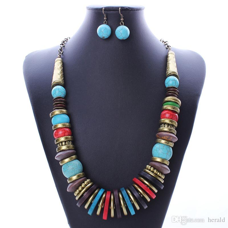 set Lead and nickel free quality turquoise jewelry sets necklace women earrings bangles HD-180