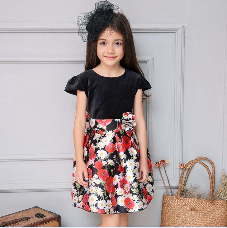 8ee4ef6005 2019 2016 Princess Flora Dress Girls Dresses Velvet Top Daisy Flower Kids  Party Ball Dress Children Clothes Black K8128 From Star baby