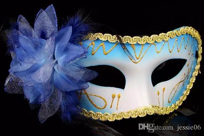 Arbeiten Sie Frauen-reizvolle Maske Hallowmas venetianische Augenmaske-Maskerademasken mit Blumenfeder Ostern-Schablonen-Tanzpartyfeiertags-Maskentropfenverschiffen um