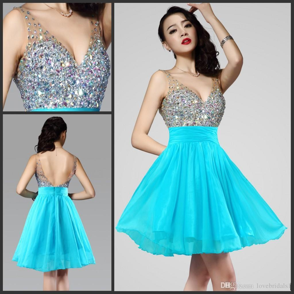 2017 Light Blue Sparkly Short Graduation Party Dresses with ...