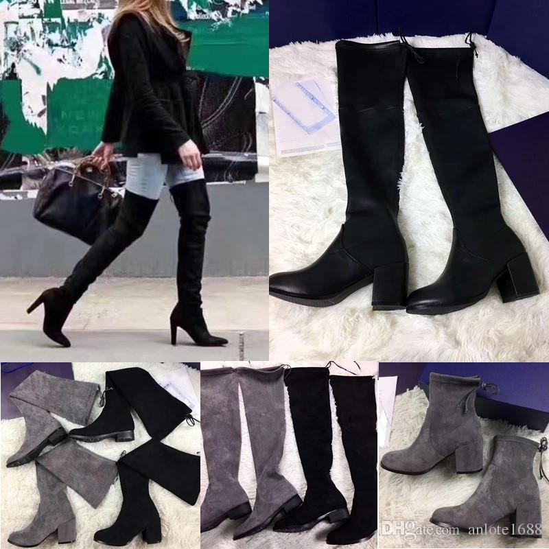 7d8bbe5e7bc Women Tieland Over The Knee Boots Vanland Strench Suede Long Short Bootie 3 5 7.5 9cm  Heels Thigh High Boots Black Gray Pumps Shoes Shoe Sale Pumps Shoes ...