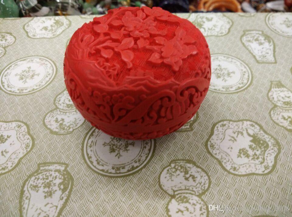 Monili-fiori della lacca del cinabro rosso del fiore intagliato a buon mercato cinese all'ingrosso / trasporto libero