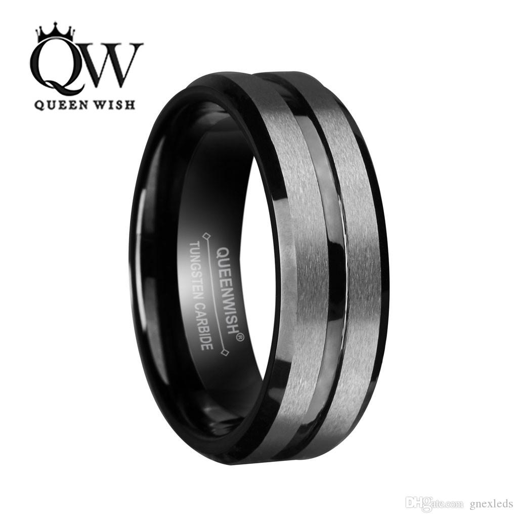 389d527871f41e 2019 8mm Black Tungsten Carbide Ring For Men And Women Silver Brushed And  Black Stripe Wedding Bands Promise Ring Engagement Fashion Jewelry From  Gnexleds, ...