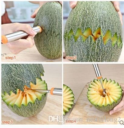 hot sale Double-End Multi Function Stainless Steel Fruit Melon Baller Carving Knife Ice Cream Scoop Spoon Kitchen Tools
