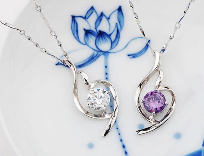 S925 Sterling Silver Pendant Classic Fasion Drop Pendent Necklace Woman Fashion Crystal Diamond Pendant Necklaces Wholesale