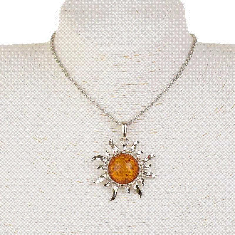 Wholesale hot sale fashion sun flower charm pendants faux amber wholesale hot sale fashion sun flower charm pendants faux amber collar necklaces women plating silver long necklaces jewelry small pendant necklace aloadofball Images