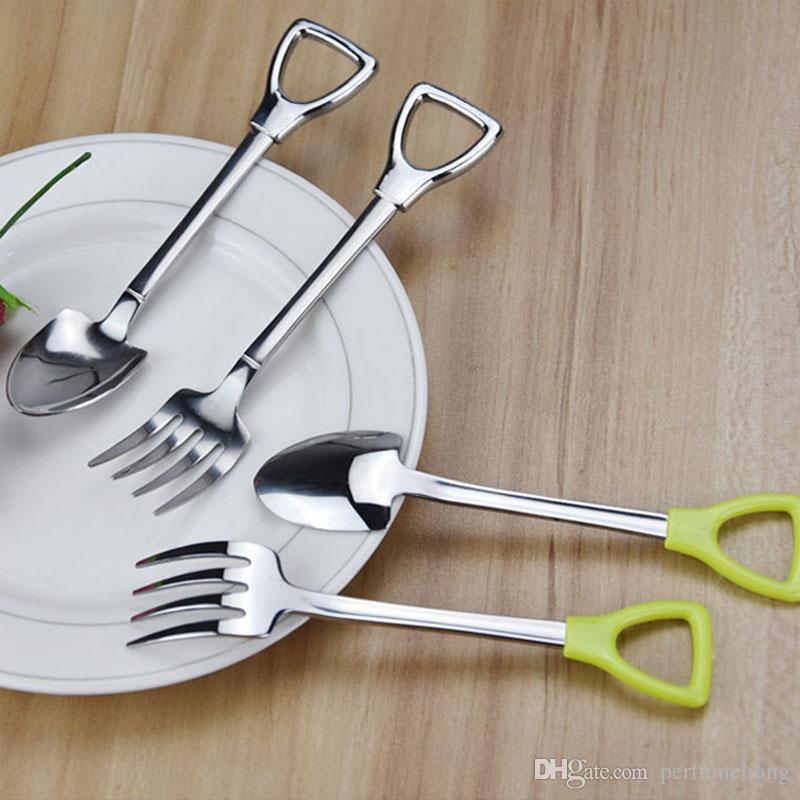Acero inoxidable cuchara tenedor pala forma café helado sopa cuchara mango largo miel cucharaditas para niños ZA5045