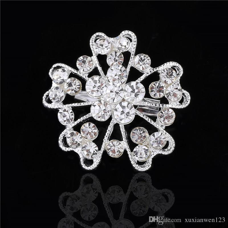 Star Jewelry Shining Beautiful Silver Clear Rhinestone Crystal Small Flower Rhinestone Brooch Bouquet for wedding women pins