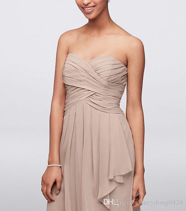 Kurzes Crinkle Chiffon Kleid mit Front Cascade Brautjungfer Kleider Eine Linie knielangen Dark Red Mint Chiffon geraffte Prom Abend Party Dress