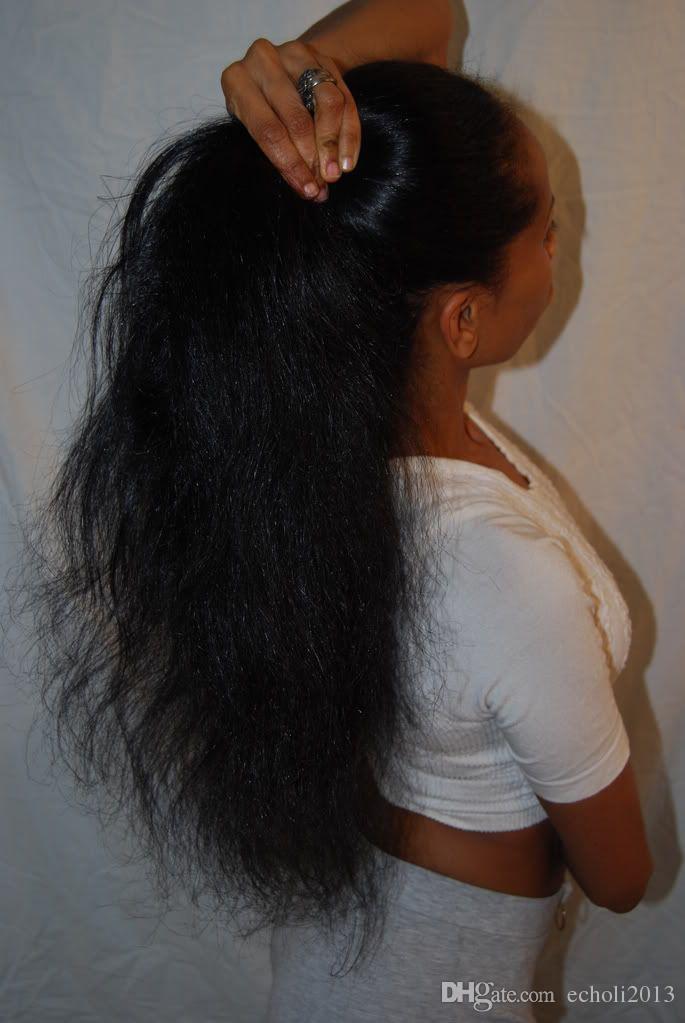 Migliore qualità Vergine brasiliana luce yaki Coda di cavallo dritto capelli umani avvolgere coda estensioni coda di cavallo 120g colore naturale Yaki dritto