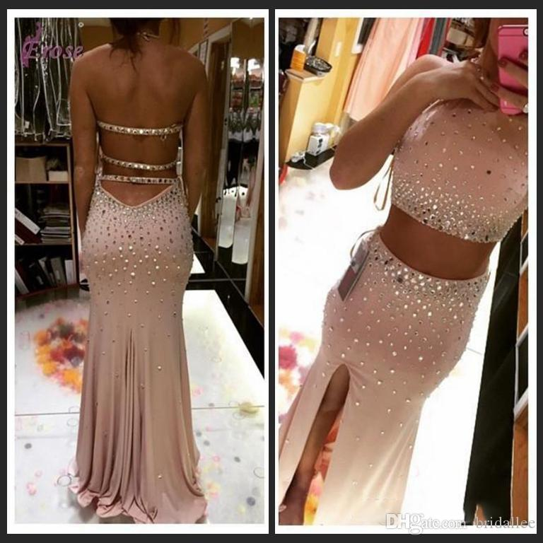 308eadcf940 Two Pieces Dresses 2016 Sexy Halter Rhinestone Crystal Mermaid Prom Dresses  Pink Long Backless Front Side Split Evening Gowns Party Dresses Junior Prom  ...