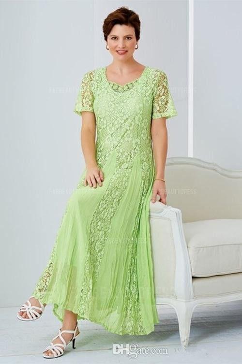 Zarif Çay Boyu Dantel Anne Gelin Elbise Scoop Boyun Düğün Konuk Elbise Kollu Ile Bir Çizgi Artı Boyutu Örgün Önlükler