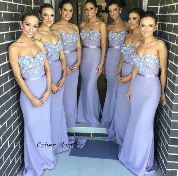 Envío gratis Lila elegante vestido largo de dama de honor Apliques de sirena Vestido de dama de honor Vestidos de Noiva Envío rápido