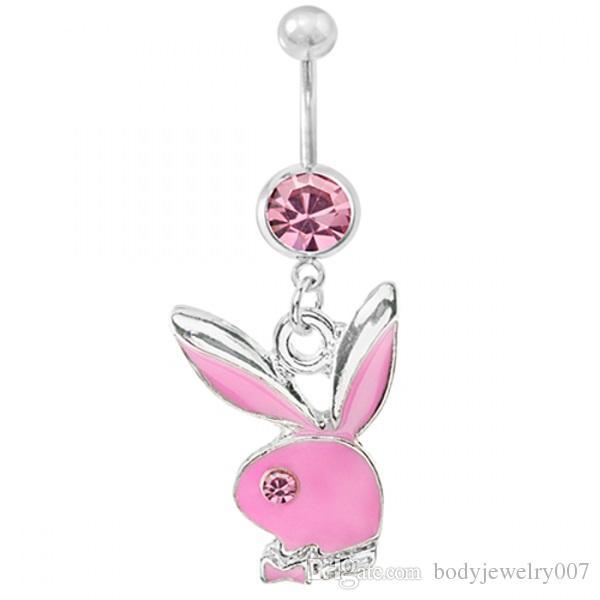 D0233 es estilos agradables ombligo ombligo anillos joyería piercing del cuerpo cuelgan accesorios moda colgante del vientre encanto conejo
