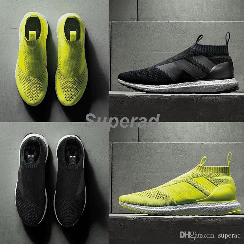 Ace 16+ PureControl Ultra Boost Black White Solar Yellow Men Running Shoes  Sneakers Originals FashionRunner Primeknit Casual Shoes 36-45 Ace 16  PureControl ...
