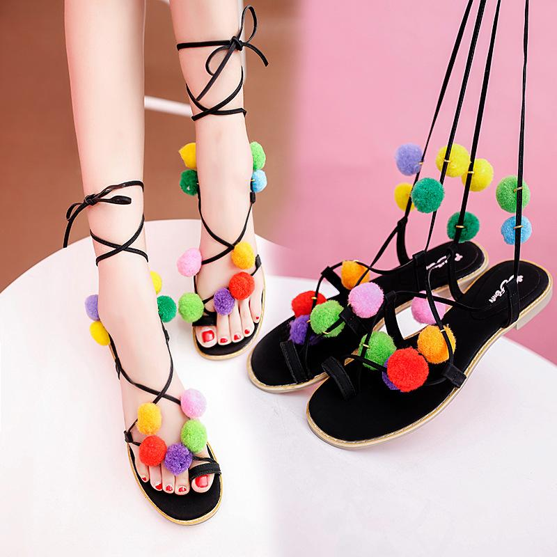 Summer New Flowers Hairball Women Sandals Flat Lacing Colorful Pompons Toe  Kawaii Roman Sandals for Girls Online with  21.79 Piece on Sneakersgroup s  Store ... ff89d2038ab5