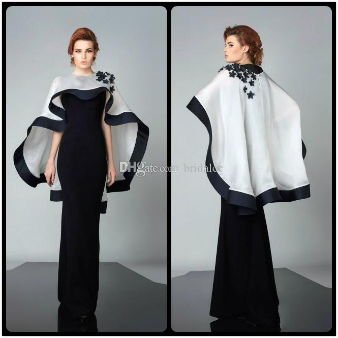 Modest Black Evening Dresses with White Cape Dress abayas Appliques Long Custom Made Robe De Soiree Celebrity Gowns for sale