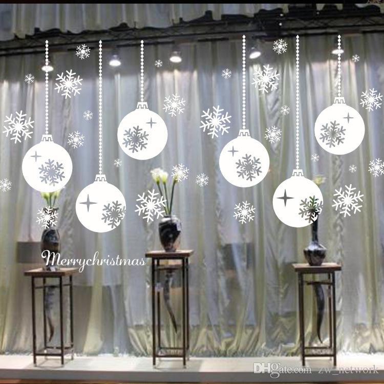 Neve Città Adesivi murali di Natale Grande finestra rimovibile Vetro Decorativo decorativo Decalcomania Adonos Navidad Finestra Vetro Decorativo 77
