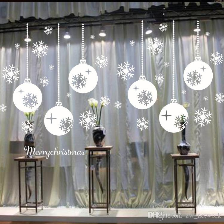 Snow Town Christmas Wall Stickers Large Removable Window Glass Decorative Wall Decal Adornos Navidad Window Glass Decorative 77
