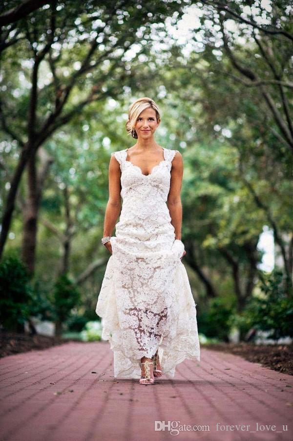 Land-Art-Weinlese-volle Spitze Brautkleid mit V-Ausschnitt Ärmel geöffneten zurück lange formaler Garten Brautkleider mit Sweep Zuge Top-Qualität