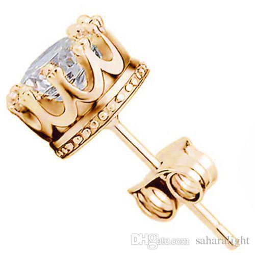 Großhandel Mode Krone 18 Karat Vergoldet Ohrringe Frauen Brincos De Prata Männer Zirkonia Kristall Jewerly Double Stud Earing