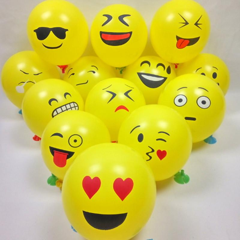 Inflatable Balloons Balls For Favor Cartoon Face Expression Latex Party Air Balloon Christmas Decoration Ornament Emoji Smile 18th Birthday Supplies