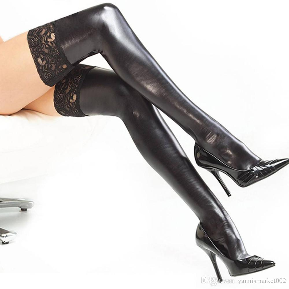 Sexy Lingerie Lace Up Black Latex Stockings Faux Leather Wet Look Vinyl Fetish Socks Pole Dance Clothes Woman Hose 7796