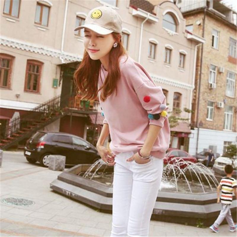Cute donna o-collo manica lunga felpa con cappuccio dolce Felpe primavera Autunno donna Sportswear Felpe Pullover con cappuccio ouc2027