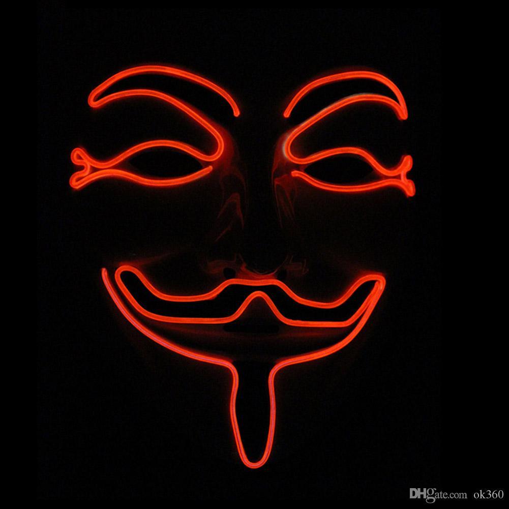 New Wire El Mask Light Up Neon Light Vendetta Party Fashion V ...