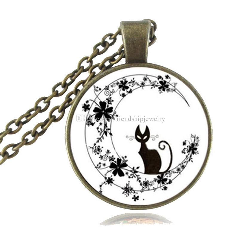 Black Cat in Flower Moon Necklace Crescent Moon Pendant Cute Animal Jewelry Glass Cabochon Silver Bronze Chain Statement Necklace for Women