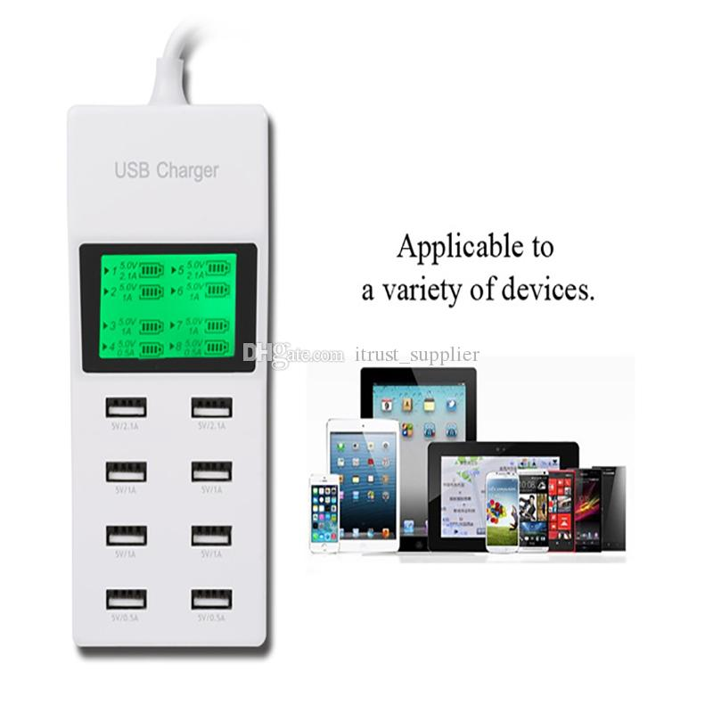 new 8Port Portable SMART USB Hub Wall Charger AC Power Adapter EU Plug Slots Charging Extension Socket Outlet With Switcher wholesale