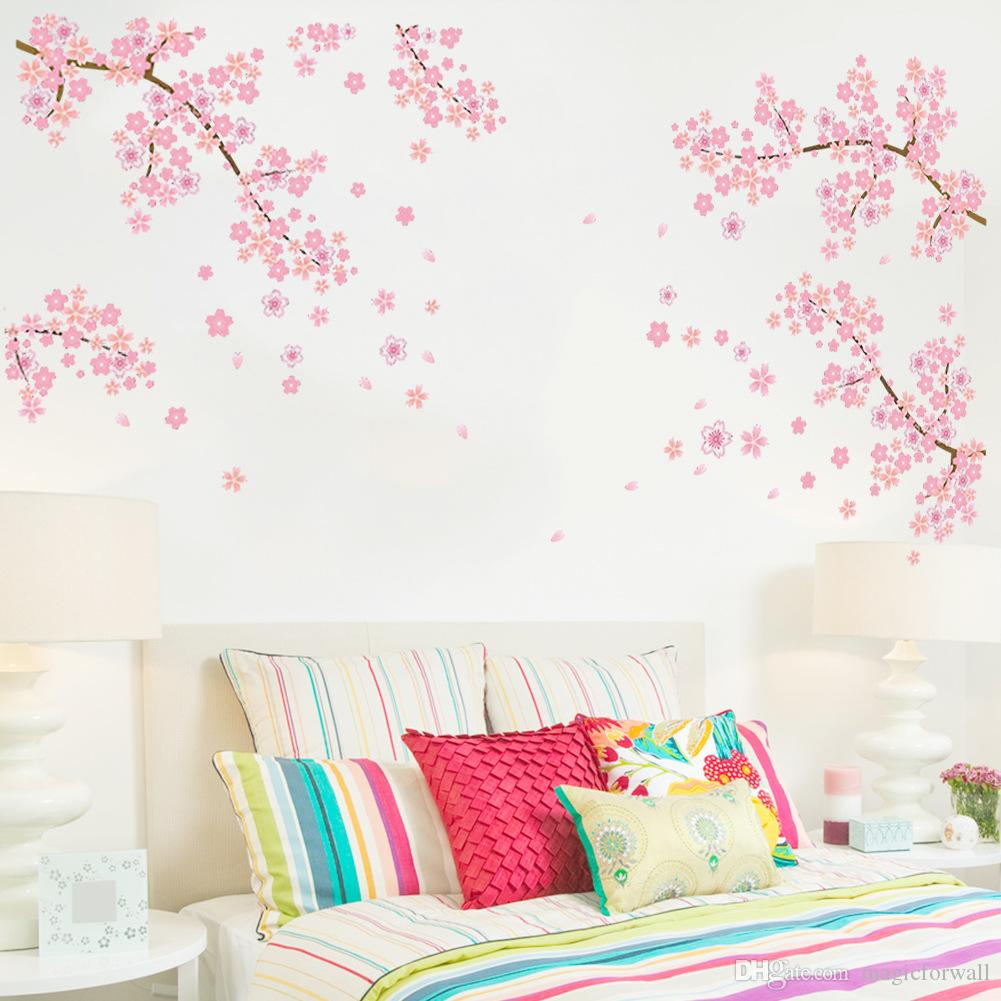 Extra Large Pink Plum Blossom Flowers Tree Branches Wall Stickers for Living Room TV Background Decor Removable PVC Wall Applique Home Deocr