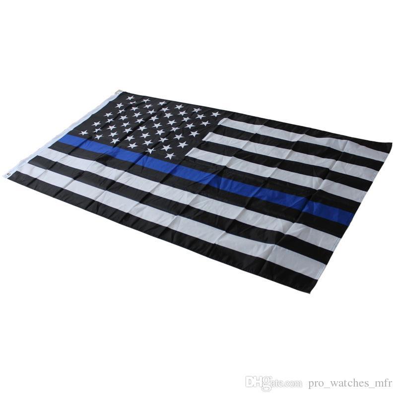 4 Tipos 90 * 150 cm BlueLine EUA Polícia Bandeiras 3x5 Pé Fino Linha Azul EUA Bandeira Preto, Branco E Azul Da Bandeira Americana Com Bronze Ilhós F737