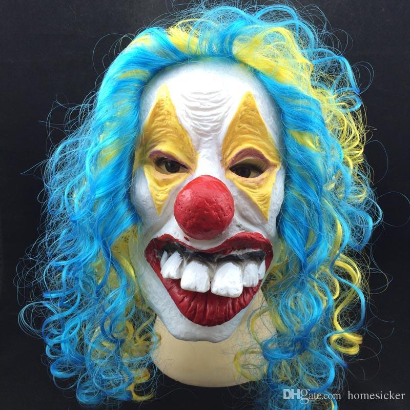 New Clown Mask Long Curl Colorful Hair Latex Mask Carnival Halloween Mask Masquerade Party Costume