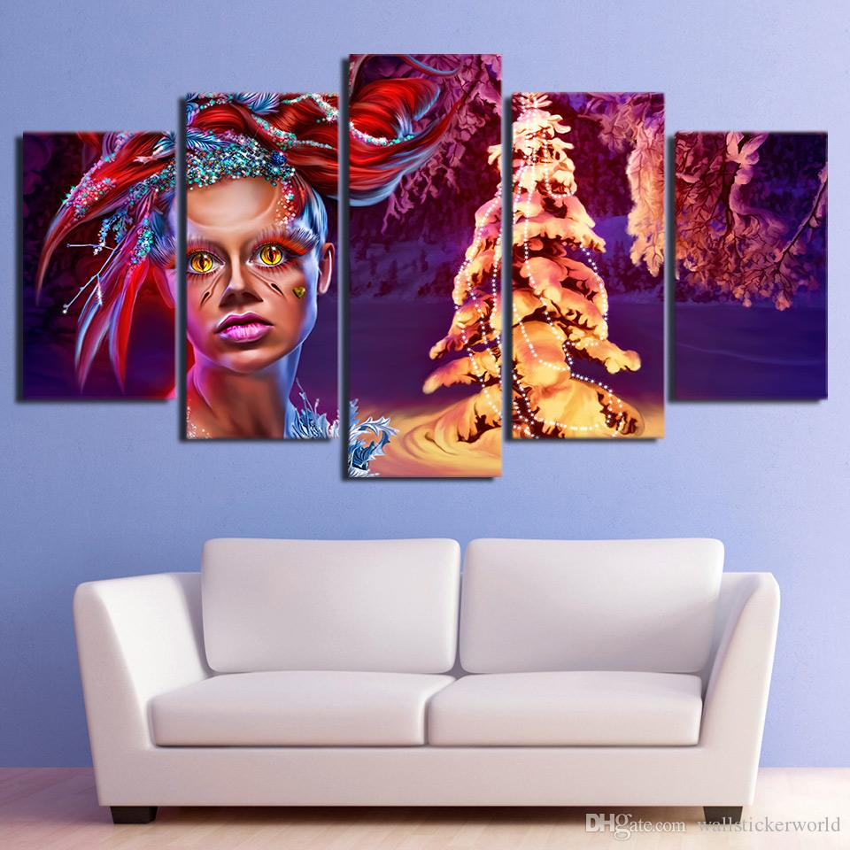 5 Panel HD Printed Framed Christmas Tree Make Up Women Wall Canvas Art Modern Print Painting Poster Picture For Home Decor