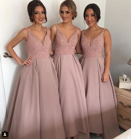2019 Modest Cheap A Line Hi Low V Neck Beaded Long Bridesmaid Dresses Discount Satin Party Prom Dresses