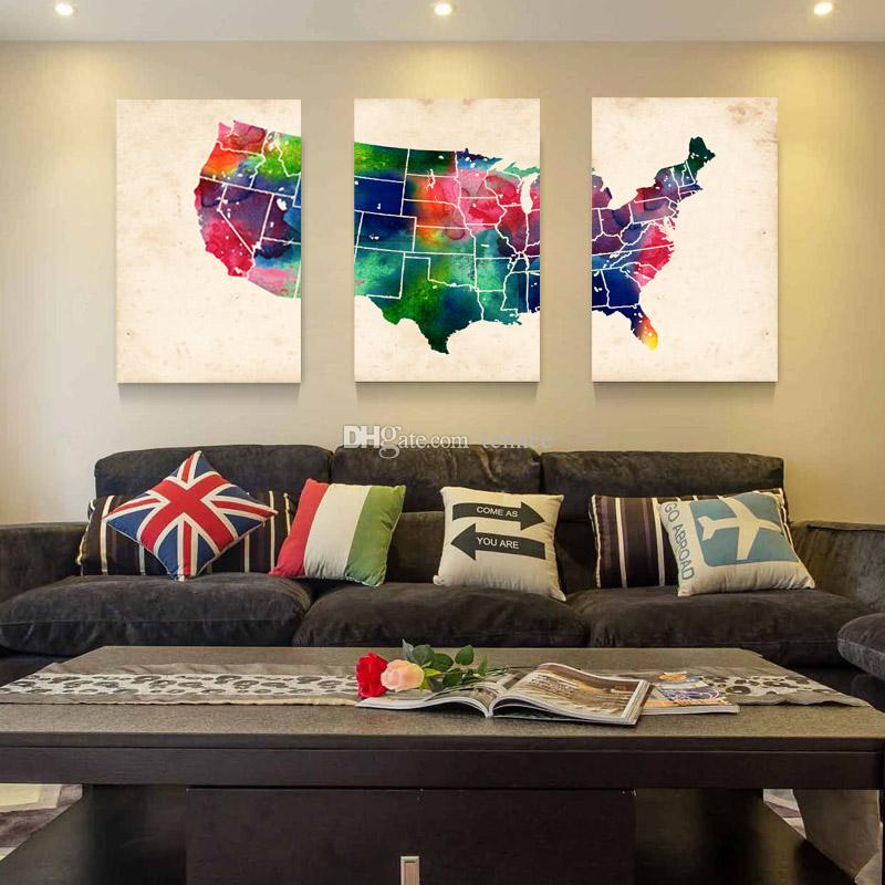 Us Map Artwork.2019 Hot Sell 3 Panels Canvas Modern Triptych Wall Painting