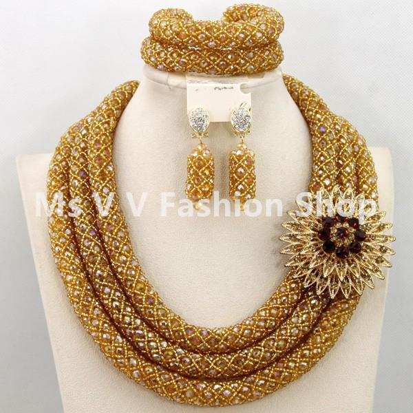 2018 Indian Jewelry Set 3 Layers Gold Nigerian Wedding African Beads
