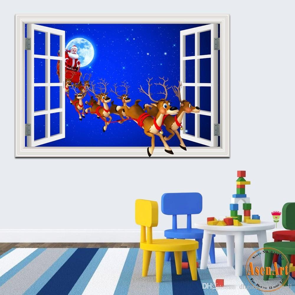 Großhandel Frohe Weihnacht Aufkleber Fenster Landschaft 3d Wallpaper ...