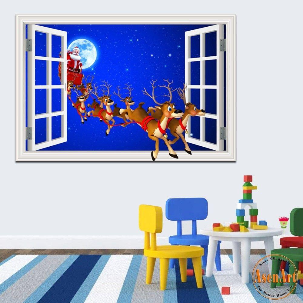 Merry christmas sticker window scenery 3d wallpaper wall decal merry christmas sticker window scenery 3d wallpaper wall decal sticker home decor living room murals art santa claus reindeer 20x28 bedroom stickers for amipublicfo Gallery