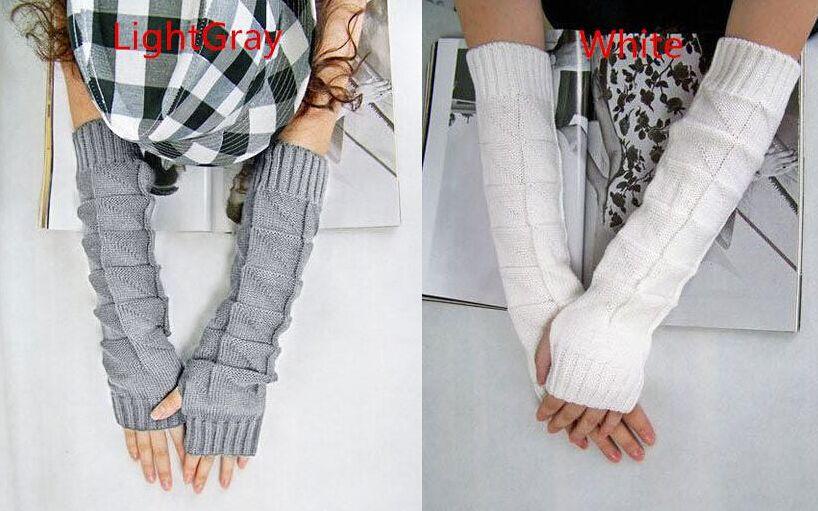 Top de Alta Qualidade Mulheres Senhora de Malha Trançado Longo Inverno Luvas Sem Dedos Wrist Warm Mittens Mais Leve Frete Grátis