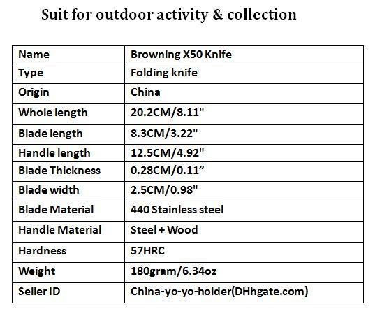 Sammlung Messer Browning X50 440C 57HRC Ordner Holz + Kohlefaser Griff Camping Überlebensmesser Taschenmesser F679L