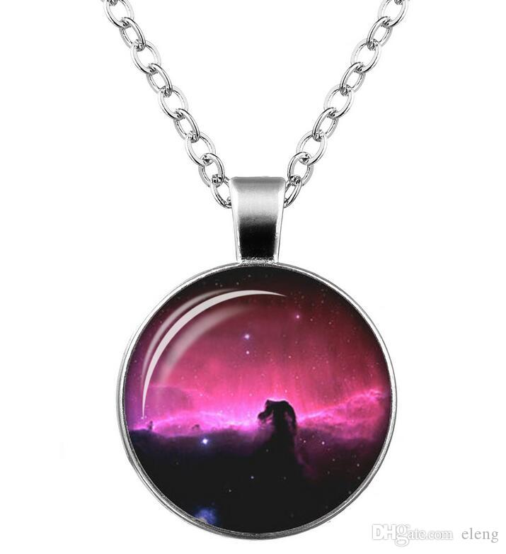 2018 universe starry sky necklace Time gem glass Sweater chain Necklace men women Jewelry + 361