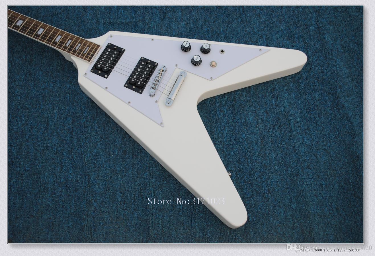 Top Instrumentos Musicais Mais Novo Branco Voando V Guitarra Elétrica Da China Frete Grátis