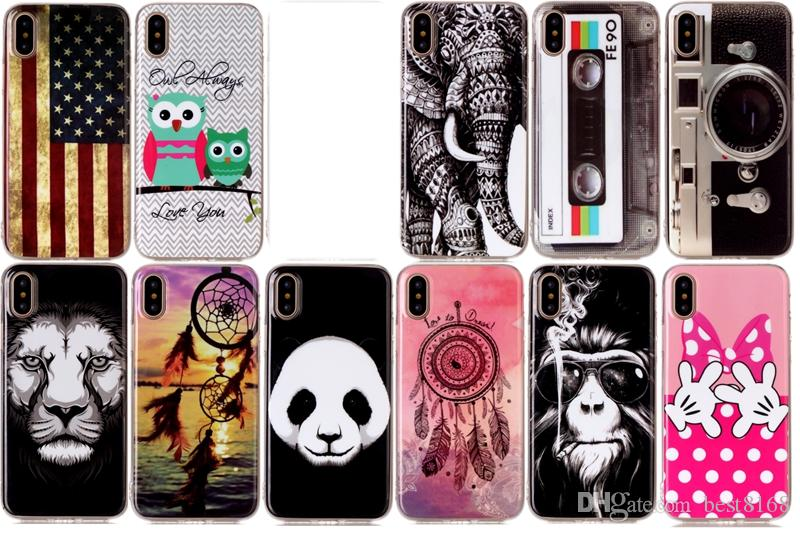 USA Flag Soft TPU IMD Case For Iphone X 8 7 6 6s Plus Panda Dreamcatcher Bowknot Hand Lion Owl Elephant CD Camera Feather Cartoon Gel Cover