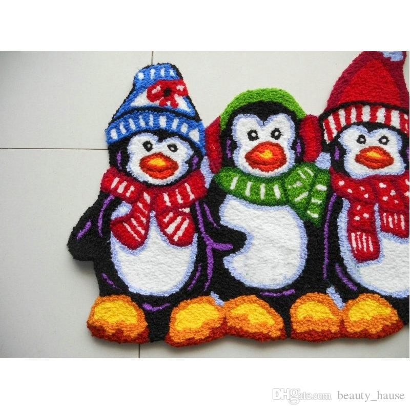 Carino Penguine forma Hooked Mat Living Porta Mats, antiscivolo ricamato Porticato Zerbino Pavimento Moquette Cucina Rugs regalo di Natale
